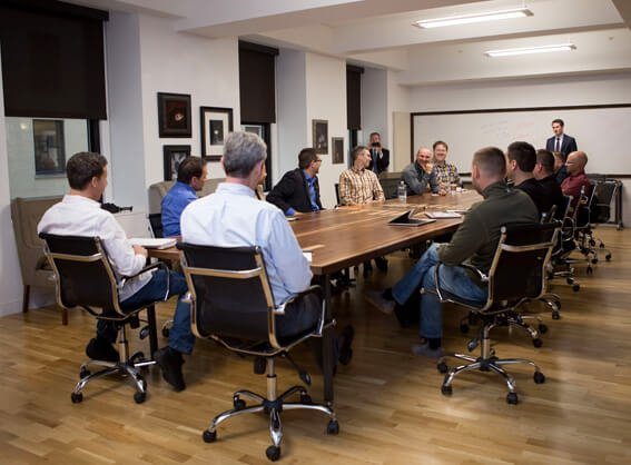 A meeting held at The Mill conference room